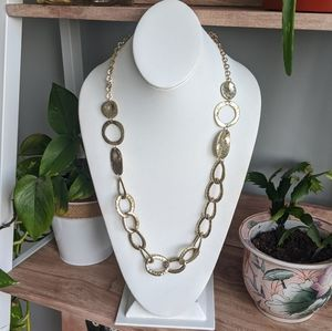 Long Hammered Silver-toned Open Chain Necklace
